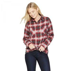 NWT Knox Rose Plaid Thermal Back Shirt Medium Red